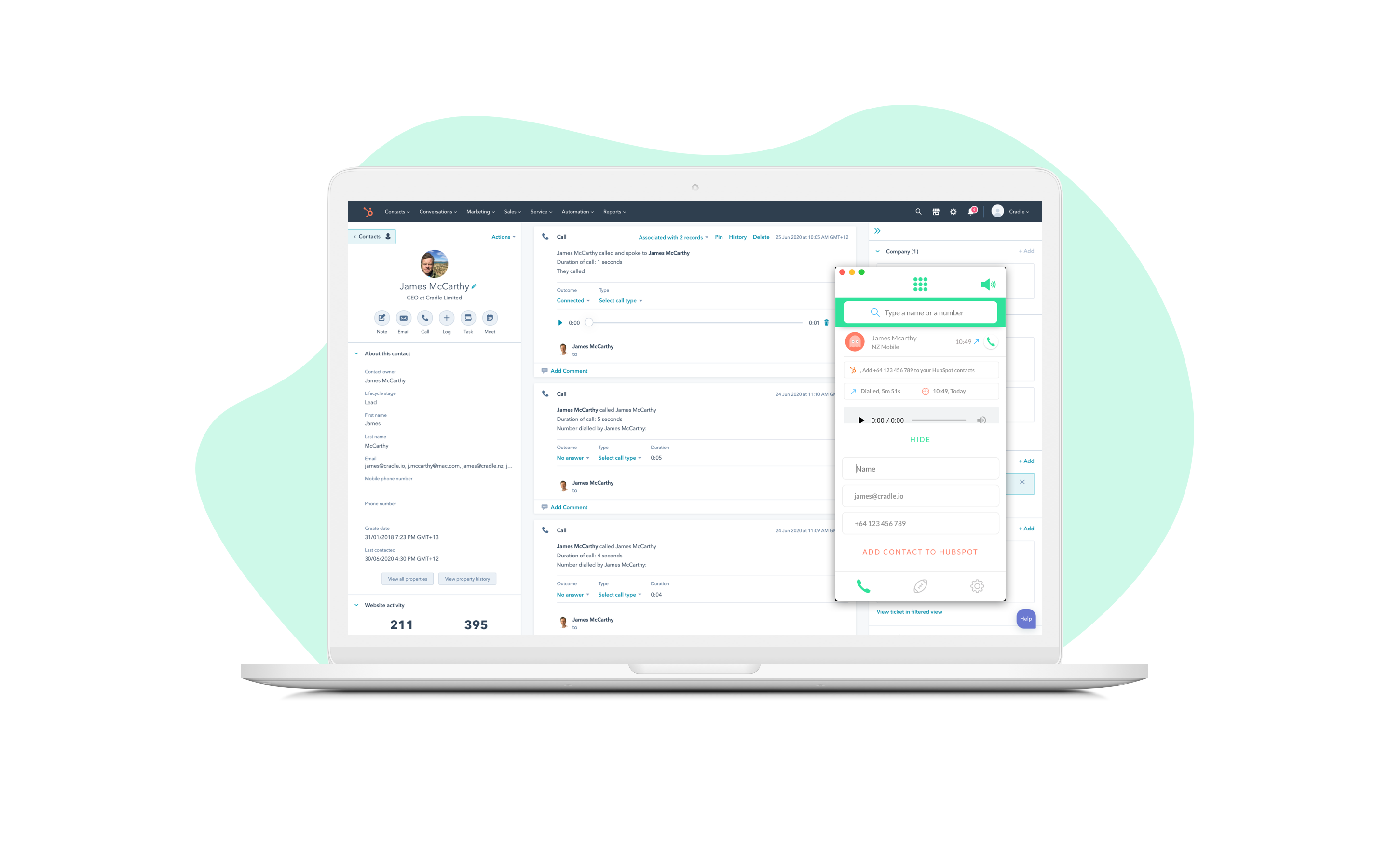 One click to add contact from Cradle call to HubSpot records