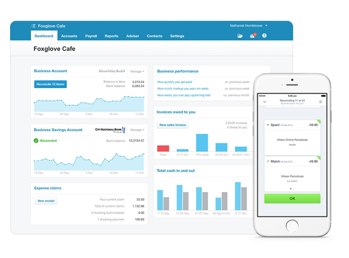 Desktop and mobile screenshots of Xero application