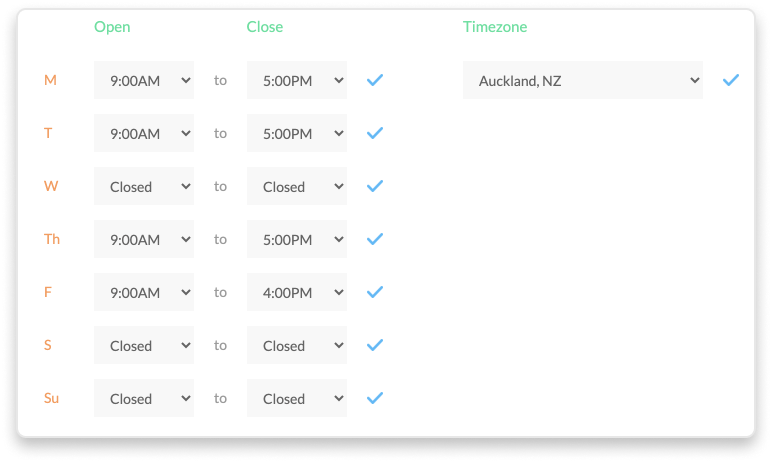 Cradle business hours settings in the Cradle admin app