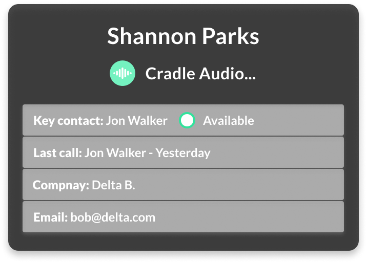 Enriched caller-id screen showing contact information and previous call data