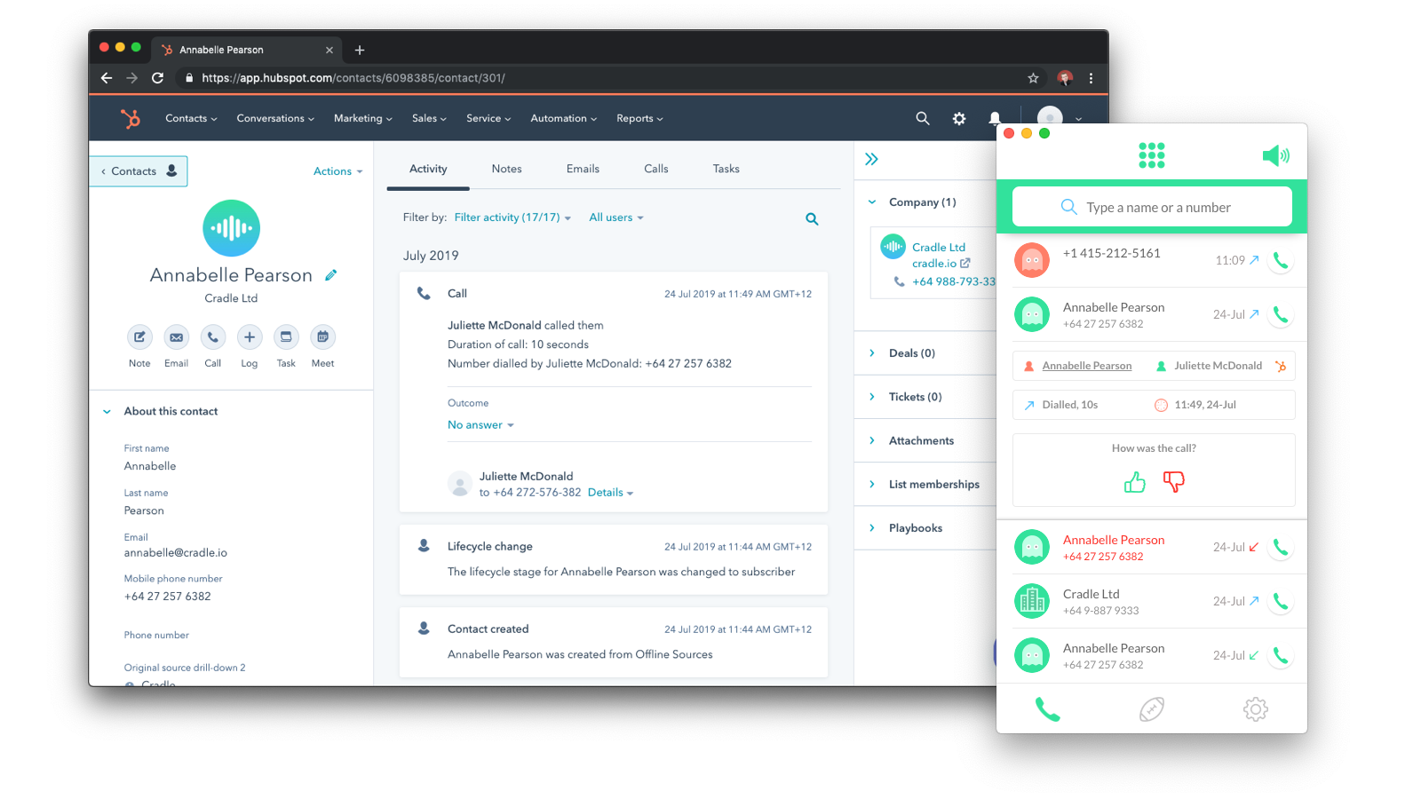 HubSpot and Cradle side by side showing the call log