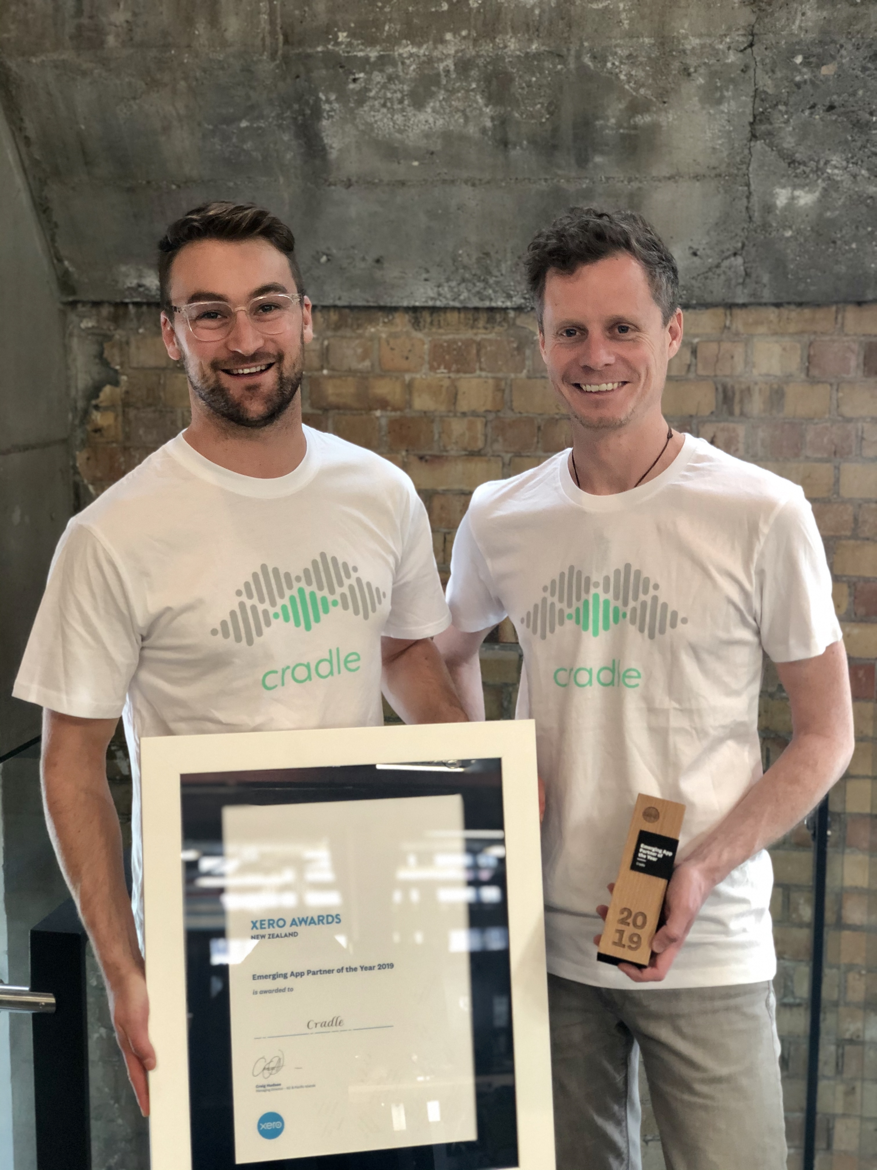 Max and James with the Xero Emerging App Award