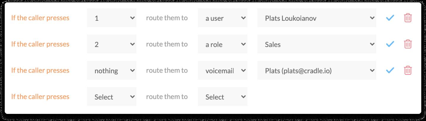 Cradle Voice menu greetings easy set up in the admin app using drop downs