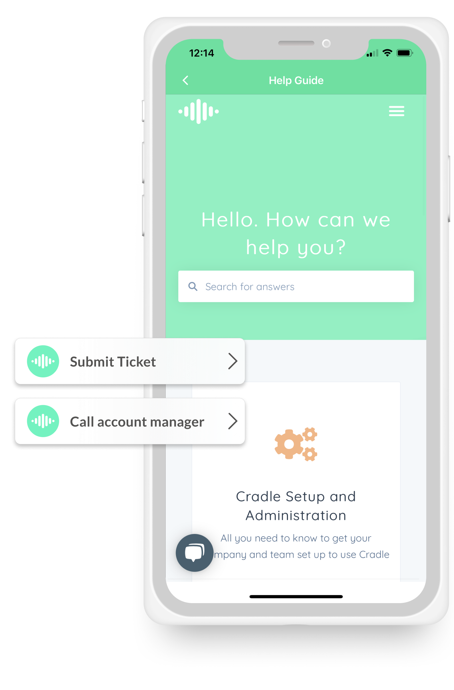 I-phone X with Cradle help site with notification examples on the side showing submit a ticket and call account manager button