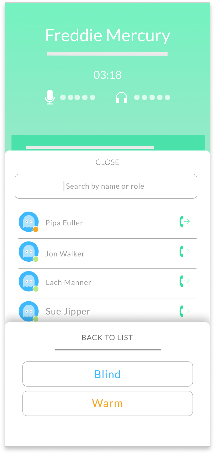 Cradle mobile app interface for warm transferring inbound calls