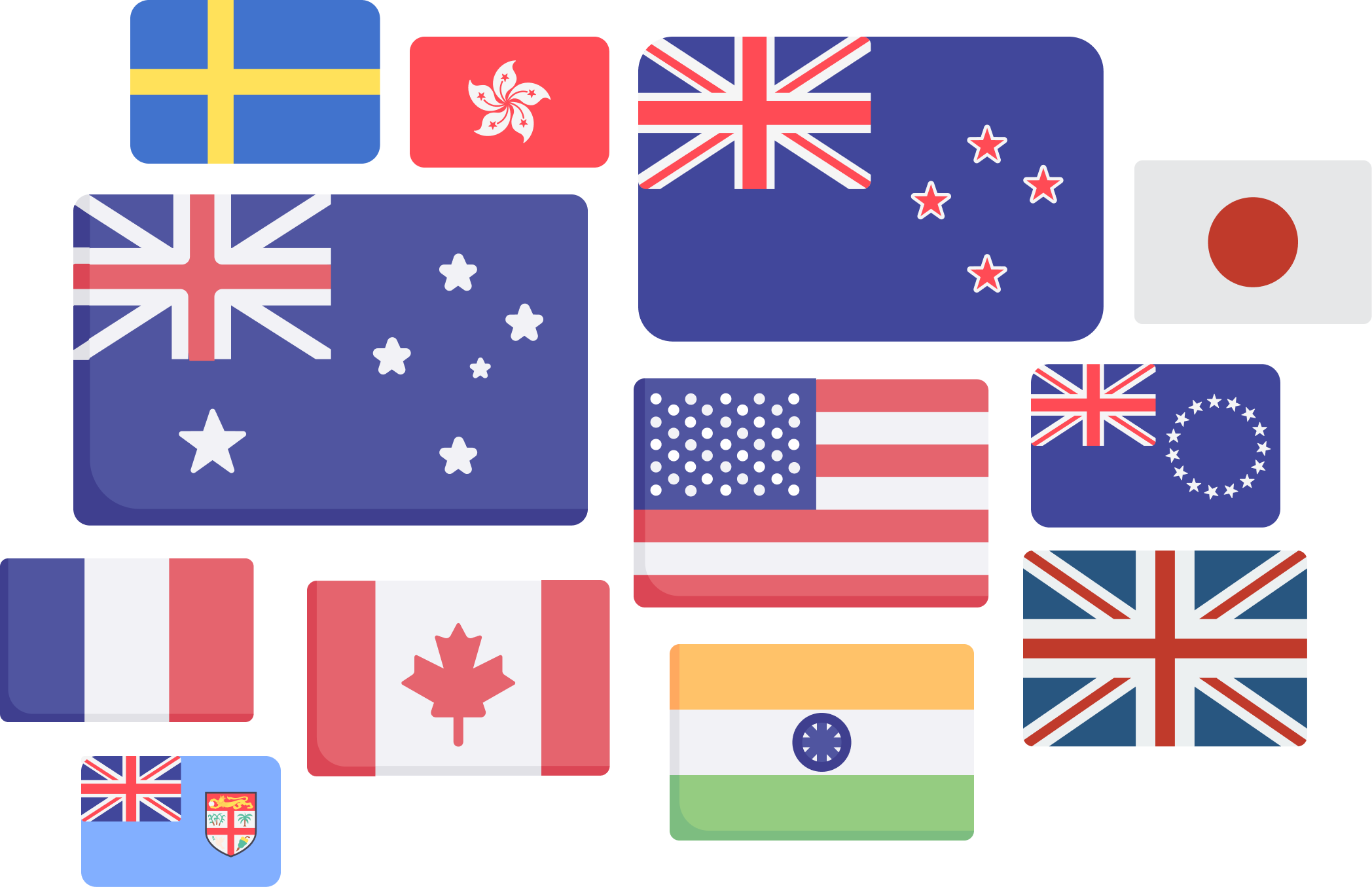A selection of the 80+ countries that you can have a phone number with Cradle