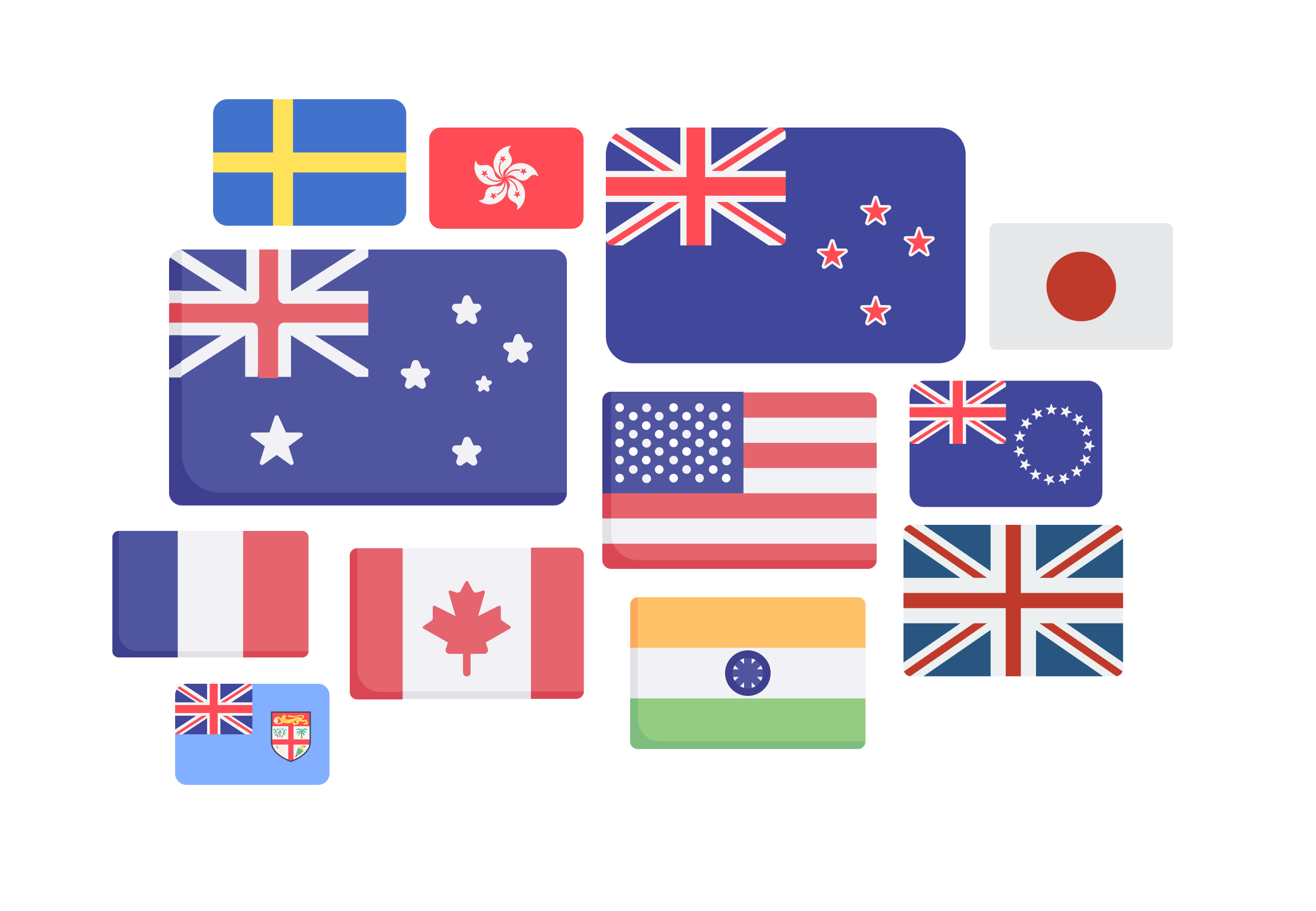 A collection of country flags in which Cradle phone can register numbers in